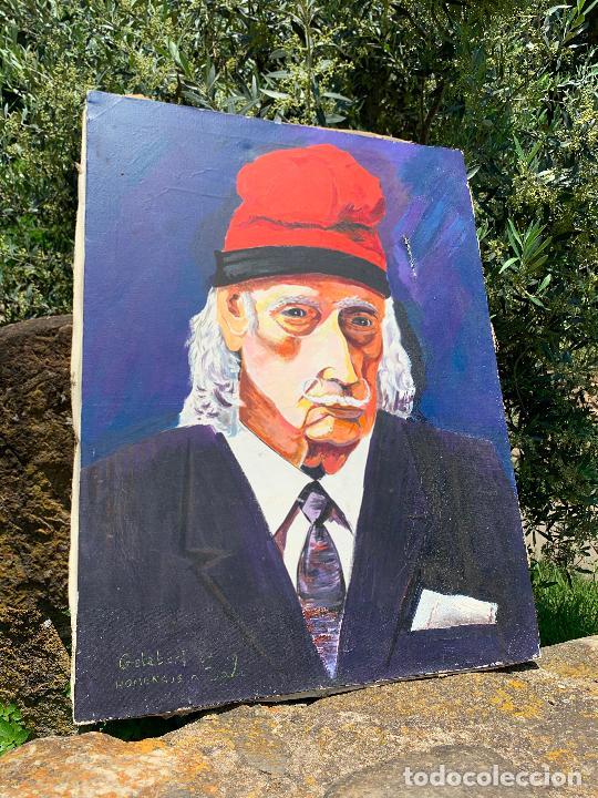 Arte: Extraordinario retrato de SALVADOR DALÍ, de Joan Gelabert (Dalí Junior), oleo sobre lienzo.Original. - Foto 16 - 205371120