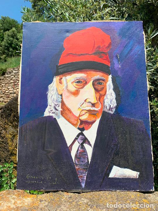EXTRAORDINARIO RETRATO DE SALVADOR DALÍ, DE JOAN GELABERT (DALÍ JUNIOR), OLEO SOBRE LIENZO.ORIGINAL. (Arte - Pintura - Pintura al Óleo Contemporánea )
