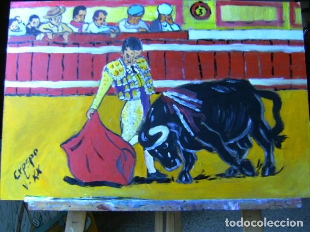TOROS.-PASE DE MULETA,ÓLEO SOBRE MADERA 40X60 CM. DE CRESPO (Arte - Pintura - Pintura al Óleo Contemporánea )