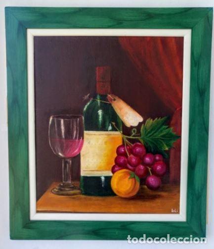 """CUADRO PINTADO AL ÓLEO - """" UVAS Y VINO"""" - SOBRE TABLA Y CON MARCO - MEDIDAS 48X38 CM. (Arte - Pintura - Pintura al Óleo Contemporánea )"""