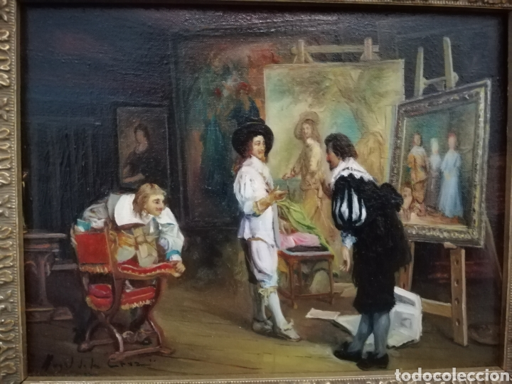 JUEGO 2 ÓLEOS. ANGEL DE LA CRUZ (Arte - Pintura - Pintura al Óleo Moderna siglo XIX)