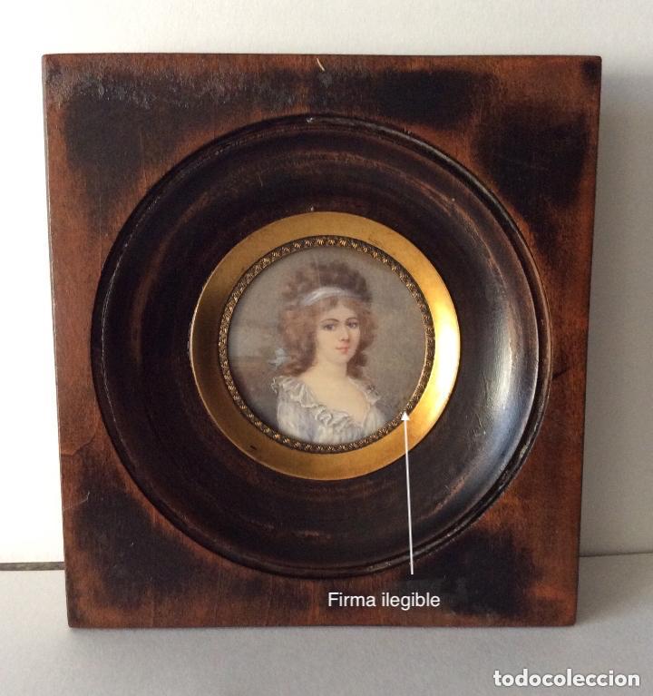 Arte: Antigua Miniatura finales del siglo XIX,sobre marfil 11X10cm - Foto 2 - 205452038