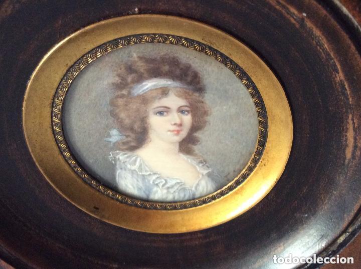Arte: Antigua Miniatura finales del siglo XIX,sobre marfil 11X10cm - Foto 3 - 205452038