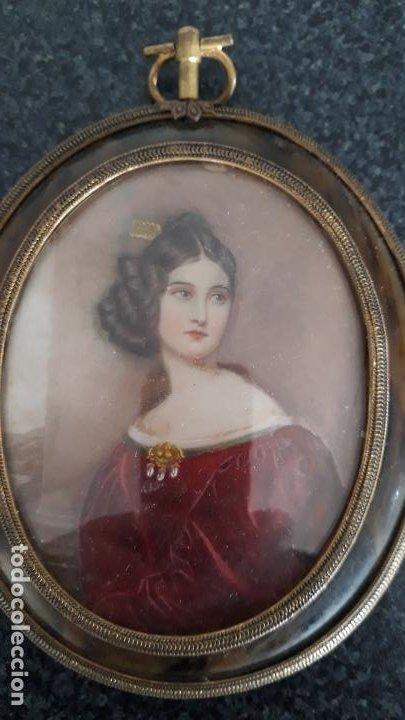 Arte: magnifica pintura miniatura con marco de epoca ,primera mitad del xix - Foto 2 - 205469561