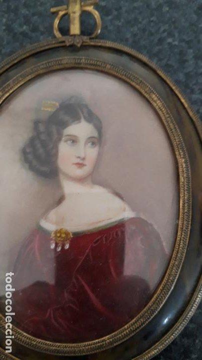 Arte: magnifica pintura miniatura con marco de epoca ,primera mitad del xix - Foto 4 - 205469561