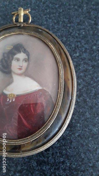 Arte: magnifica pintura miniatura con marco de epoca ,primera mitad del xix - Foto 5 - 205469561