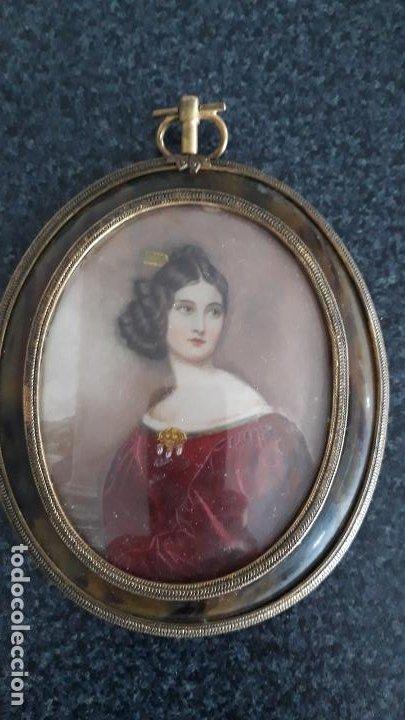 Arte: magnifica pintura miniatura con marco de epoca ,primera mitad del xix - Foto 6 - 205469561
