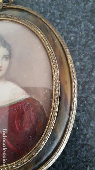 Arte: magnifica pintura miniatura con marco de epoca ,primera mitad del xix - Foto 7 - 205469561