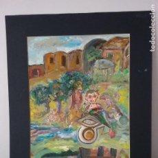 Arte: CUADRO AL OLEO Y CARBONCILLO ORIGINAL. Lote 205238761