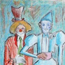 Arte: ILEGIBLE. OLEO SOBRE TELA FECHADO DEL AÑO 1968, PAREJA DE PAYASOS. Lote 205530326