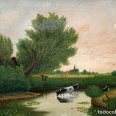 Arte: FIRMADO MEYER. OLEO SOBRE TELA FECHADO DEL AÑO 1907. PAISAJE CON FIGURAS. Lote 205534345