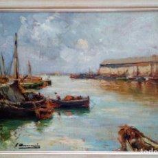 Arte: JOAQUIM ASENSIO MARINÉ - MOLL DE PESCADORS. Lote 205573560