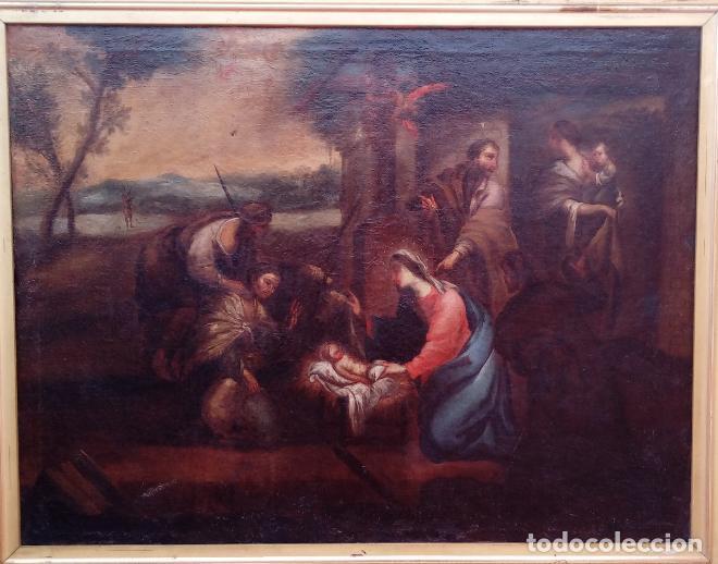 Arte: ÓLEO S/LIENZO ENMARCADO DE ÉPOCA -ADORACIÓN DE LOS PASTORES-. S. XVII -ESC. ITALIANA-. 98.5X79 CMS - Foto 2 - 164860898