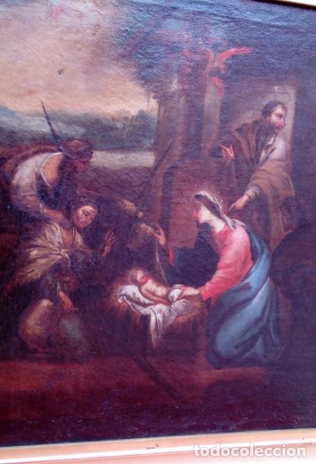 Arte: ÓLEO S/LIENZO ENMARCADO DE ÉPOCA -ADORACIÓN DE LOS PASTORES-. S. XVII -ESC. ITALIANA-. 98.5X79 CMS - Foto 4 - 164860898
