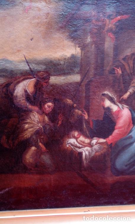 Arte: ÓLEO S/LIENZO ENMARCADO DE ÉPOCA -ADORACIÓN DE LOS PASTORES-. S. XVII -ESC. ITALIANA-. 98.5X79 CMS - Foto 5 - 164860898
