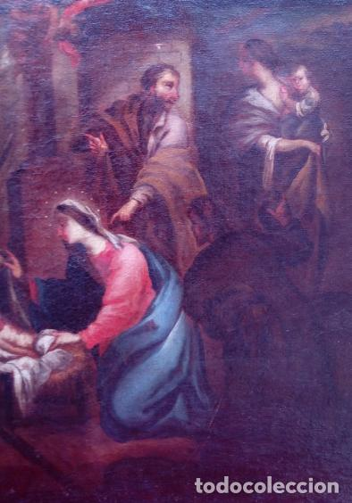 Arte: ÓLEO S/LIENZO ENMARCADO DE ÉPOCA -ADORACIÓN DE LOS PASTORES-. S. XVII -ESC. ITALIANA-. 98.5X79 CMS - Foto 6 - 164860898