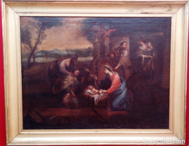 ÓLEO S/LIENZO ENMARCADO DE ÉPOCA -ADORACIÓN DE LOS PASTORES-. S. XVII -ESC. ITALIANA-. 98.5X79 CMS (Arte - Pintura - Pintura al Óleo Antigua siglo XVII)