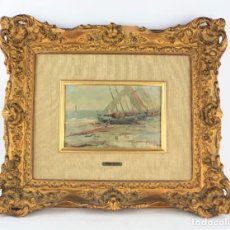 Arte: SEGUNDO MATILLA (1862 - 1937), PLAYA, BARCAS Y PESCADOR, ÓLEO SOBRE MADERA, FIRMADO, CON MARCO.. Lote 205667023