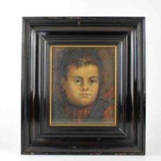 Arte: RETRATO DE NIÑA, PINTURA AL ÓLEO SOBRE TELA, FIRMADO J. VANCELLS, 1897, CON MARCO. 22X18CM. Lote 205673648