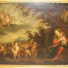 Arte: ESPECTACULAR COBRE FLAMENCO S.XVII. MEDIDAS 123 X 96 CMS. VIRGEN CON NIÑO Y GRUPOS DE QUERUBINES.. Lote 205679073