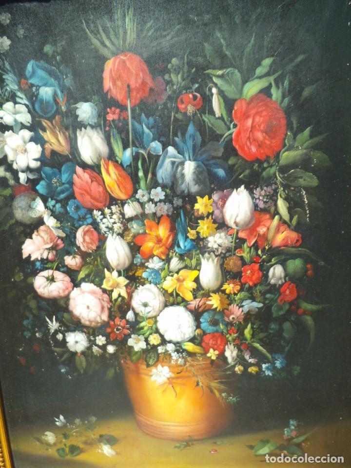 Arte: Pintura oleo sobre lienzo de un bodegón de flores, firmado. 100 x 78 ctms - Foto 3 - 205720852