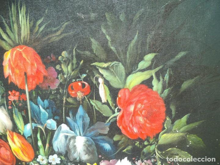 Arte: Pintura oleo sobre lienzo de un bodegón de flores, firmado. 100 x 78 ctms - Foto 8 - 205720852