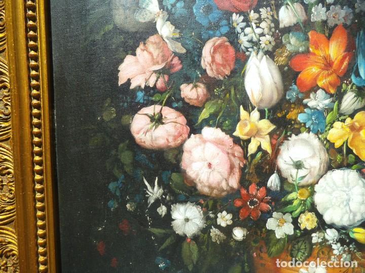 Arte: Pintura oleo sobre lienzo de un bodegón de flores, firmado. 100 x 78 ctms - Foto 9 - 205720852