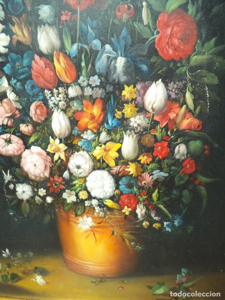 Arte: Pintura oleo sobre lienzo de un bodegón de flores, firmado. 100 x 78 ctms - Foto 10 - 205720852