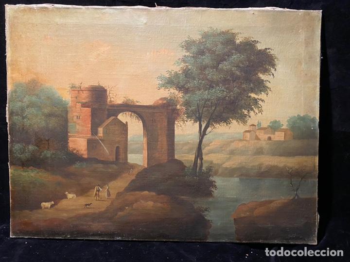 PAISAJE CON ARQUITECTURA EN RUINA Y PASTORES. (Arte - Pintura - Pintura al Óleo Moderna siglo XIX)