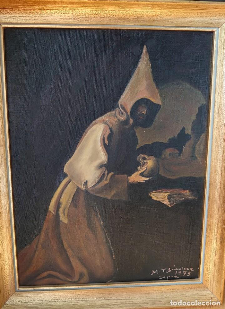 ÓLEO SOBRE LIENZO COPIA DE ZURBARÁN POR MARÍA TERESA SÁNCHEZ (Arte - Pintura - Pintura al Óleo Contemporánea )