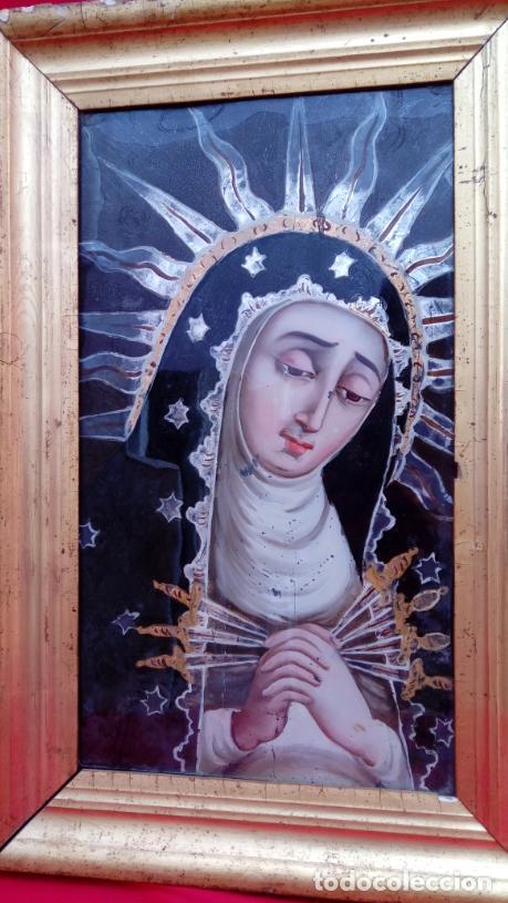 Arte: ÓLEO BAJO CRISTAL. MARCO DE ÉPOCA -V. DOLOROSA-. ESC. BARROCA SEVILLANA S. XVII. DIM.-47X30,5 CMS. - Foto 2 - 36451390