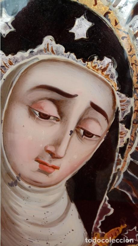 Arte: ÓLEO BAJO CRISTAL. MARCO DE ÉPOCA -V. DOLOROSA-. ESC. BARROCA SEVILLANA S. XVII. DIM.-47X30,5 CMS. - Foto 3 - 36451390