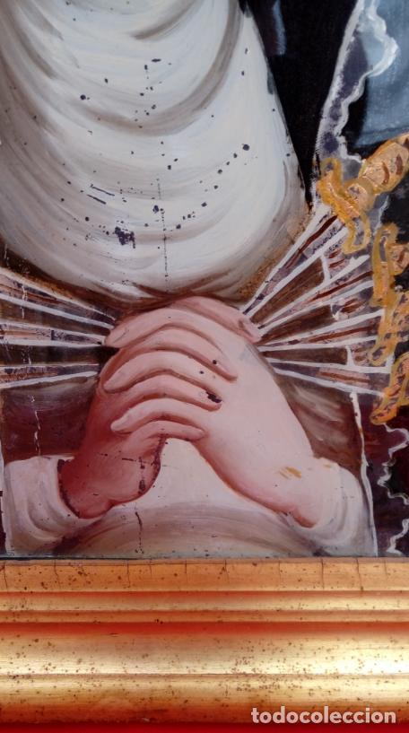 Arte: ÓLEO BAJO CRISTAL. MARCO DE ÉPOCA -V. DOLOROSA-. ESC. BARROCA SEVILLANA S. XVII. DIM.-47X30,5 CMS. - Foto 4 - 36451390