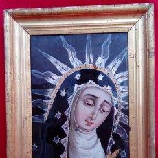 Arte: ÓLEO BAJO CRISTAL. MARCO DE ÉPOCA -V. DOLOROSA-. ESC. BARROCA SEVILLANA S. XVII. DIM.-47X30,5 CMS.. Lote 36451390