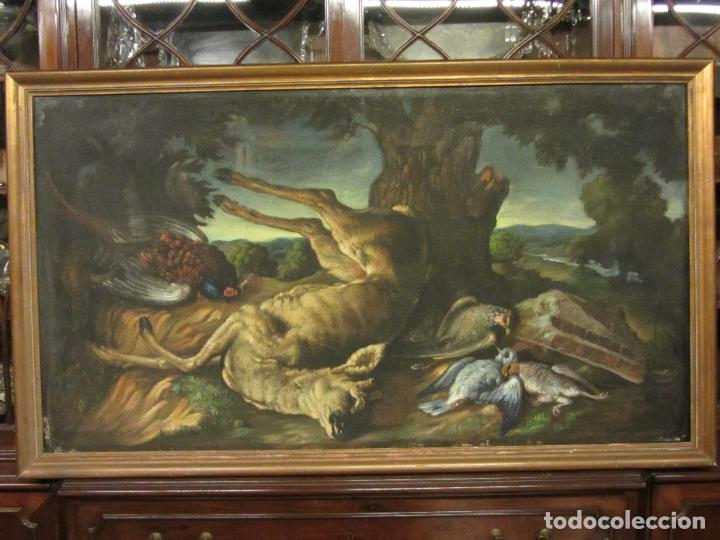 BODEGON DE CAZA, S.XVIII-XIX, OLEO SOBRE TELA (Arte - Pintura - Pintura al Óleo Moderna siglo XIX)