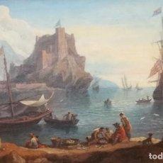 Arte: CÍRCULO DE ADRIAEN MANGLARD (LYON 1695-1760 ROMA). UN PUERTO MEDITERRÁNEO CON PESCADORES.... Lote 205789206