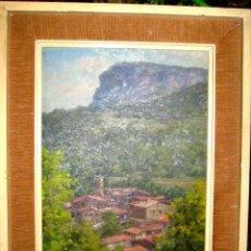 Arte: RAFAEL BATALLÉ MALLARACH (1953). ESCUELA DE OLOT, PUEBLO DEL PIRINEO. ÓLEO/CARTON.. Lote 205794927