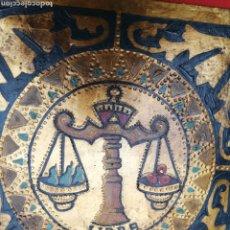 Arte: ANTIGUO ÓLEO EN MADERA ... PAN DE ORO.. .DEL SIGNO LIBRA. Lote 205816782