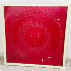 Arte: ACRILICO ROJO MATERIA RELIEVE SOL ROSTRO MASCARA MEDINILLA 1970 64X64CMS. Lote 205818465