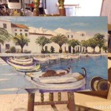Arte: GRAN MARINA OLEO MUY COLORIDA TIPO IBIZA. Lote 205828390
