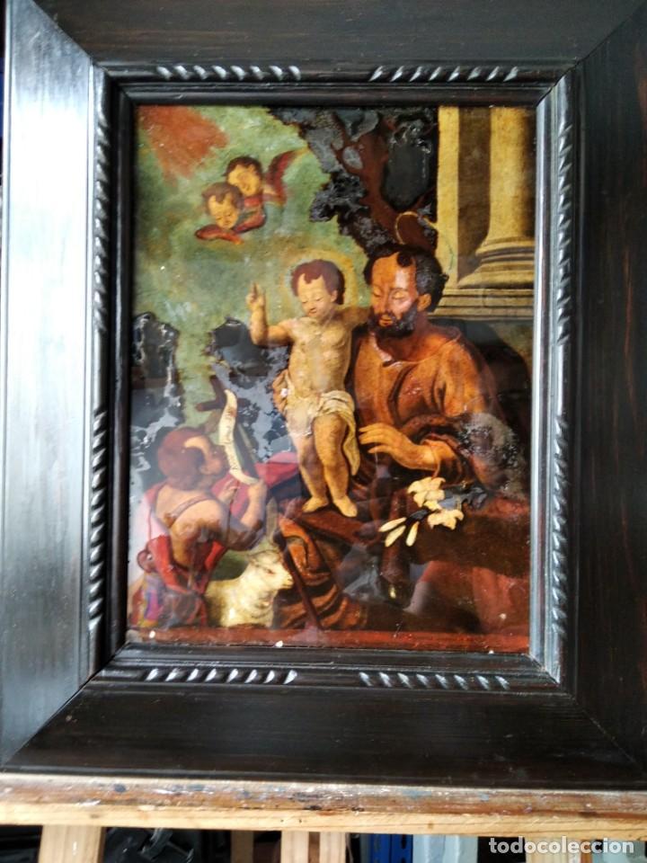 SAN JOSÉ CON EL NIÑO JESÚS Y SAN JUANITO. SS. XVIII-XIX.. (Arte - Pintura - Pintura al Óleo Antigua siglo XVIII)