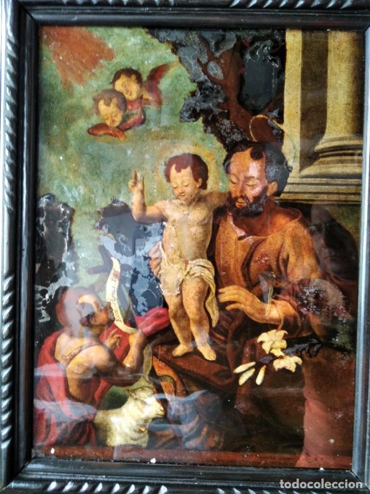 Arte: SAN JOSÉ CON EL NIÑO JESÚS Y SAN JUANITO. SS. XVIII-XIX.. - Foto 4 - 205831597