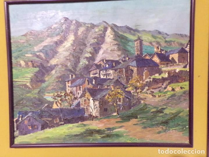 Arte: gran oleo pastel de pueblo vall de aran gran medida - Foto 2 - 205834353
