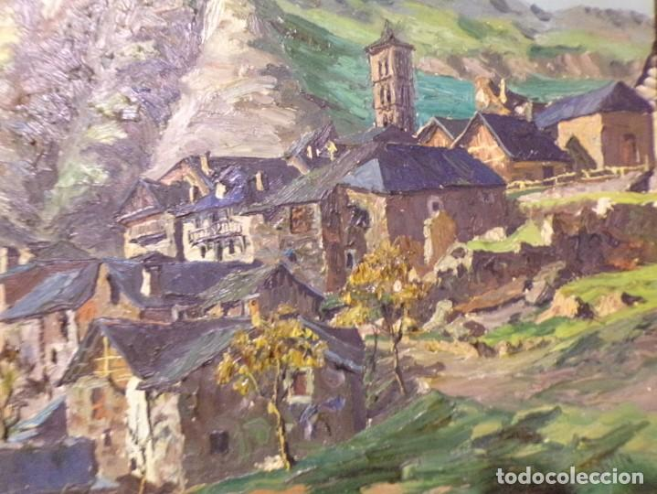 Arte: gran oleo pastel de pueblo vall de aran gran medida - Foto 3 - 205834353