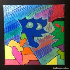"Arte: MARC LOHRAW - TECNICA MISTA SU TELA - 20X20 - ""HEY FRIEND"" - CERTIFICATA. Lote 206184971"