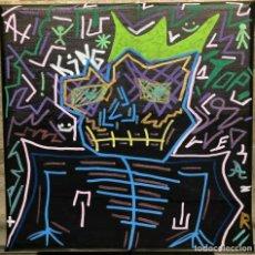 "Arte: MARC LOHRAW - TECNICA MISTA SU TELA - 20X20 - ""TOP KING"" - CERTIFICATA. Lote 206185012"