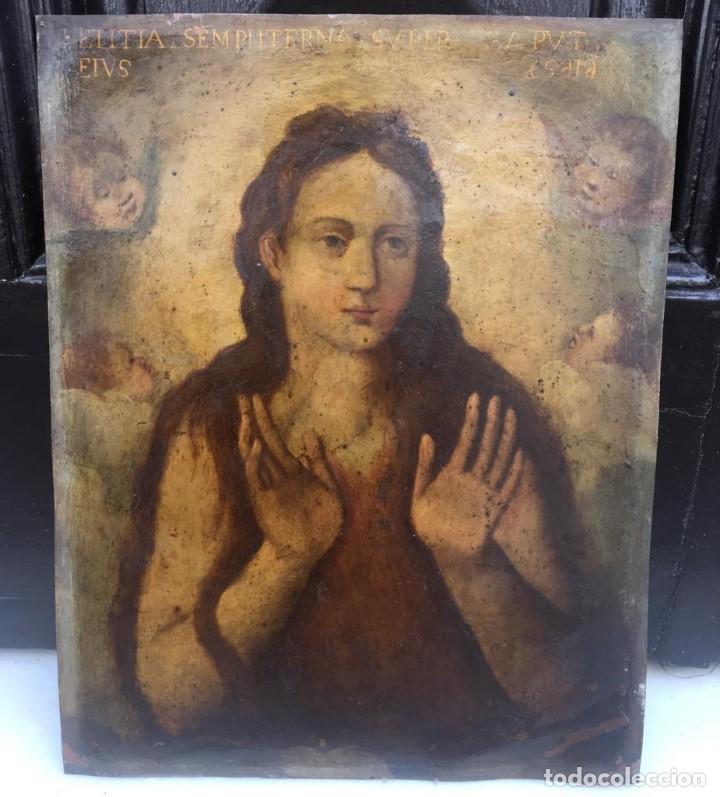 ESCUELA ESPAÑOLA Ó ITALIANA FINES SIGLO XVI PPOS. SIGLO XVII: ÁNIMA EN EL PURGATORIO (Arte - Pintura - Pintura al Óleo Antigua siglo XVII)