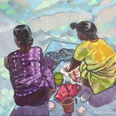 Arte: LAVANDO EN EL RIO GANGES. Lote 206238718