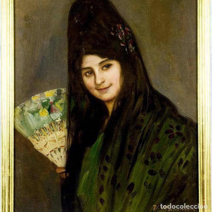 """Arte: VICENTE BARREIRA. Óleo sobre lienzo. """"""""Retrato de Dama"""" - Foto 2 - 206258900"""