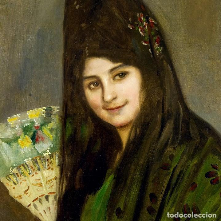 """Arte: VICENTE BARREIRA. Óleo sobre lienzo. """"""""Retrato de Dama"""" - Foto 3 - 206258900"""